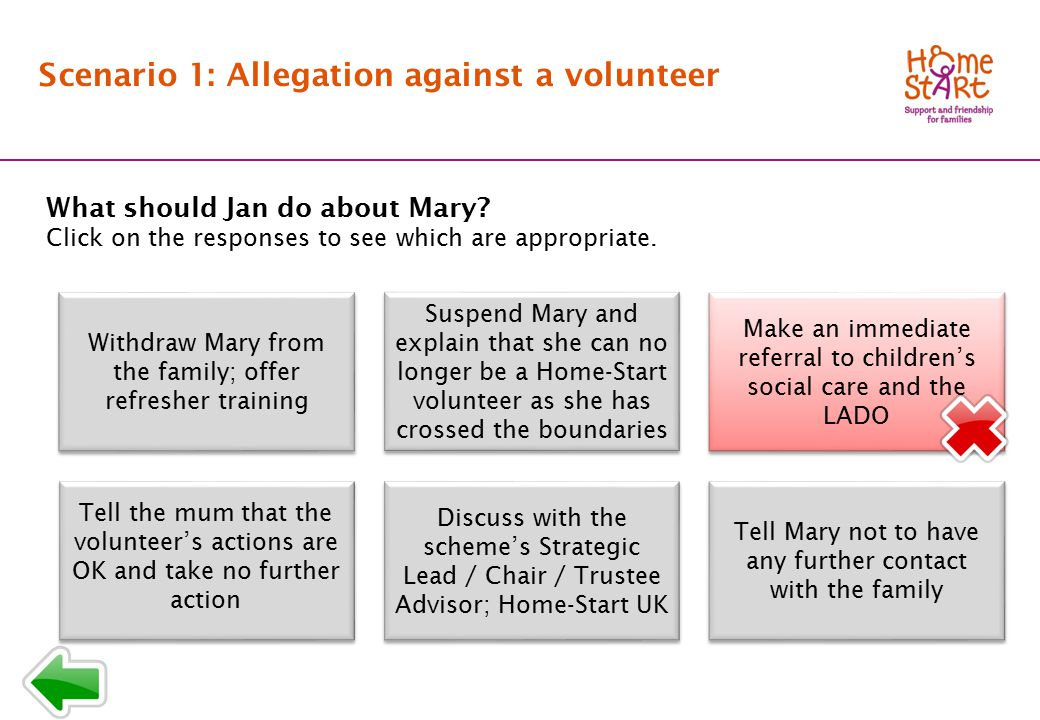 SCENARIO 1: Response menu T3 Scenario 1: Allegation against a volunteer What should Jan do about Mary.