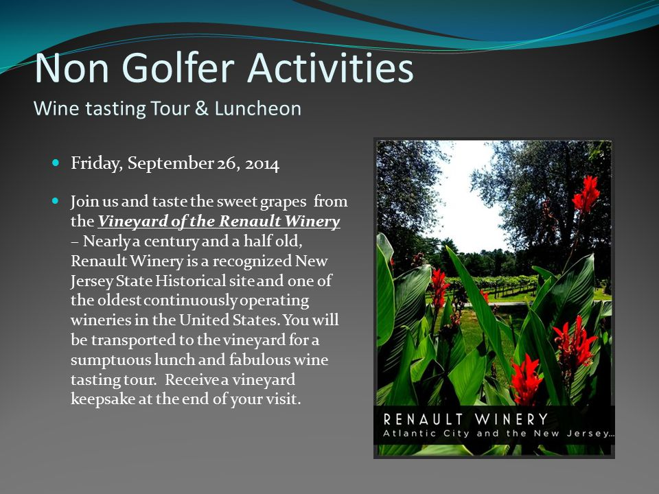 Non Golfer Activities Wine tasting Tour & Luncheon Friday, September 26, 2014 Join us and taste the sweet grapes from the Vineyard of the Renault Wine