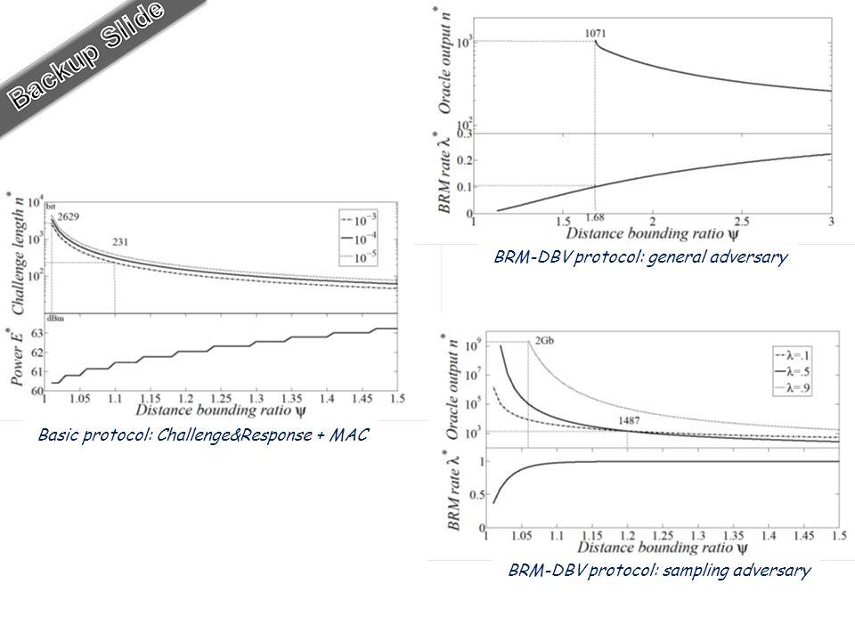 Basic protocol: Challenge&Response + MAC BRM-DBV protocol: general adversary BRM-DBV protocol: sampling adversary