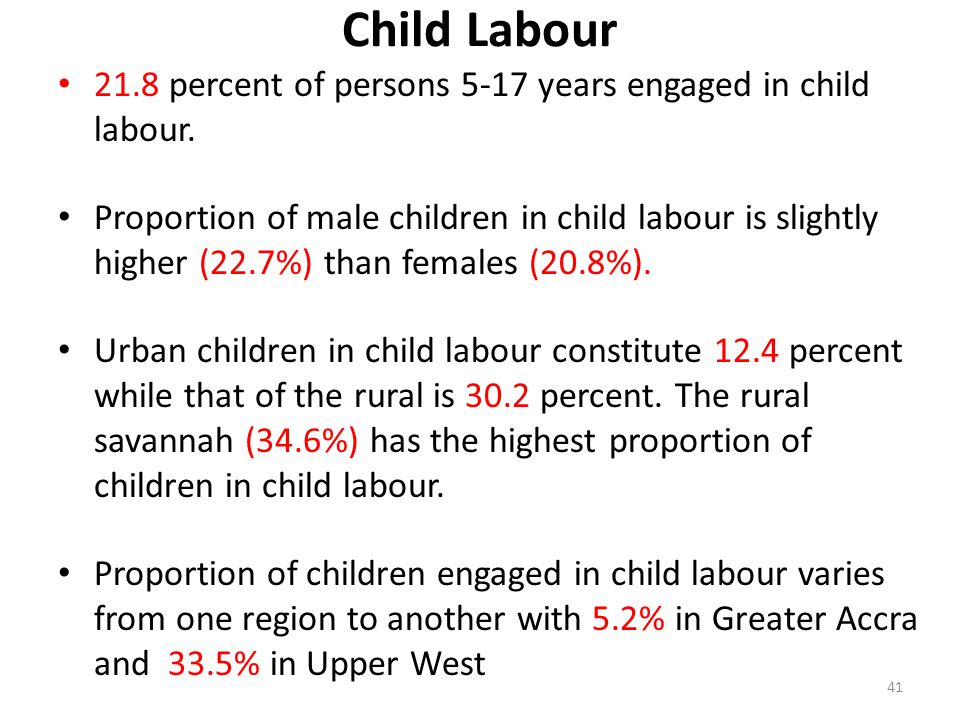 Child Labour 21.8 percent of persons 5-17 years engaged in child labour.