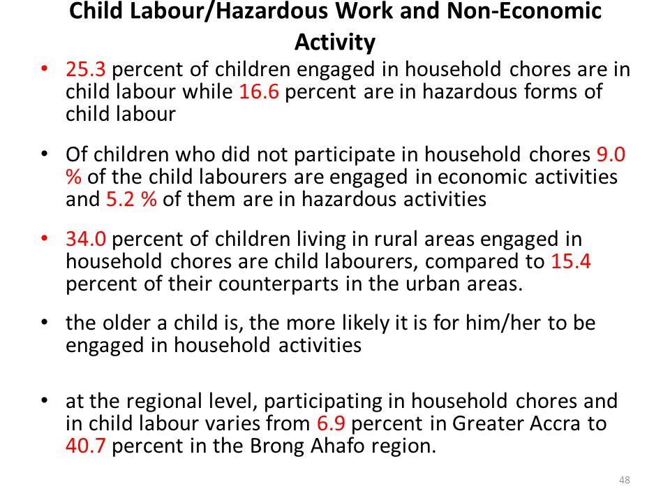 Child Labour/Hazardous Work and Non-Economic Activity 25.3 percent of children engaged in household chores are in child labour while 16.6 percent are in hazardous forms of child labour Of children who did not participate in household chores 9.0 % of the child labourers are engaged in economic activities and 5.2 % of them are in hazardous activities 34.0 percent of children living in rural areas engaged in household chores are child labourers, compared to 15.4 percent of their counterparts in the urban areas.