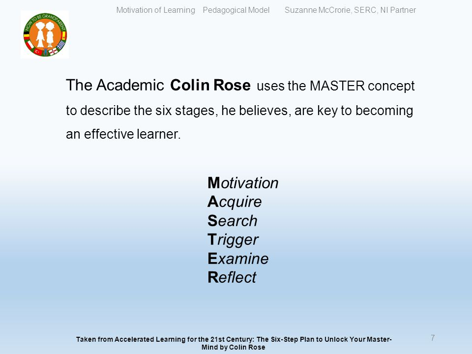 The Academic Colin Rose uses the MASTER concept to describe the six stages, he believes, are key to becoming an effective learner.