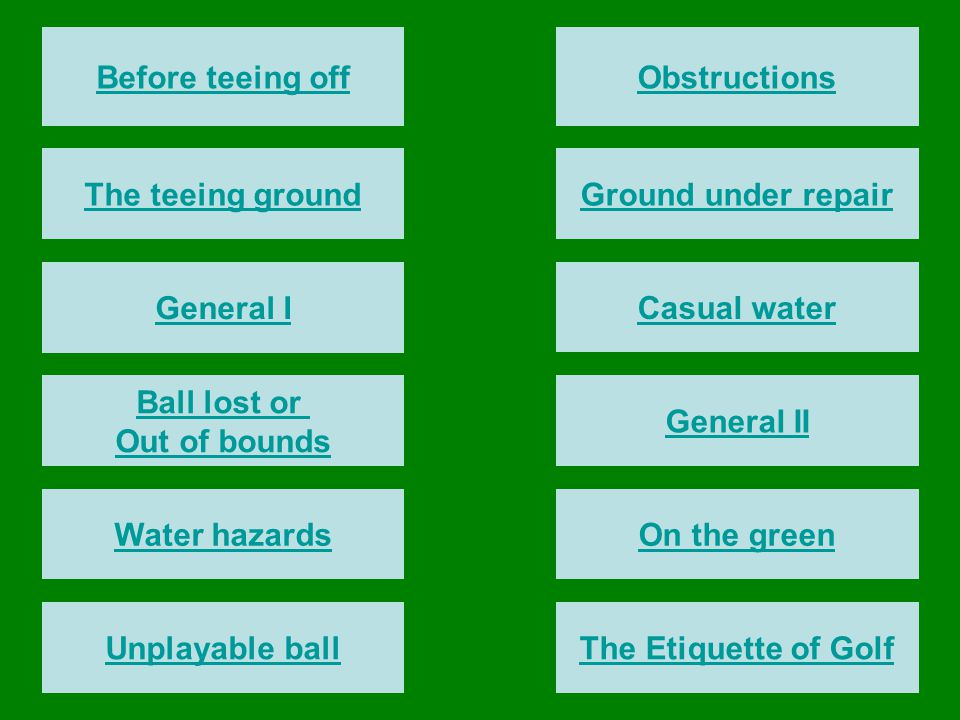 Before teeing off General I The teeing ground Ball lost or Out of bounds Water hazards Unplayable ball Obstructions Ground under repair Casual water G