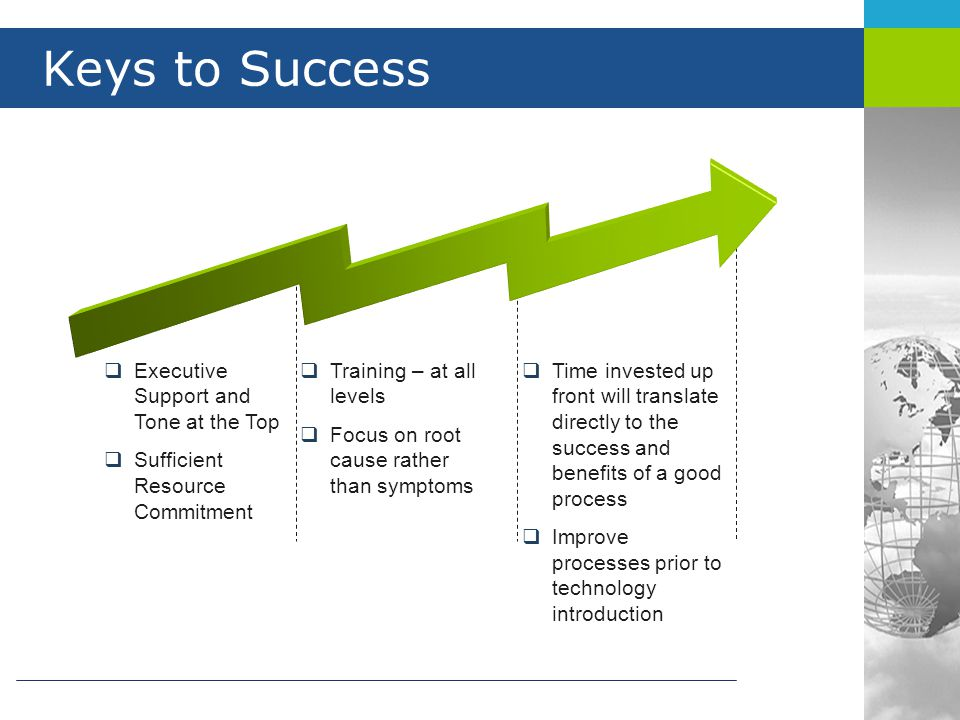 Keys to Success  Executive Support and Tone at the Top  Sufficient Resource Commitment  Training – at all levels  Focus on root cause rather than