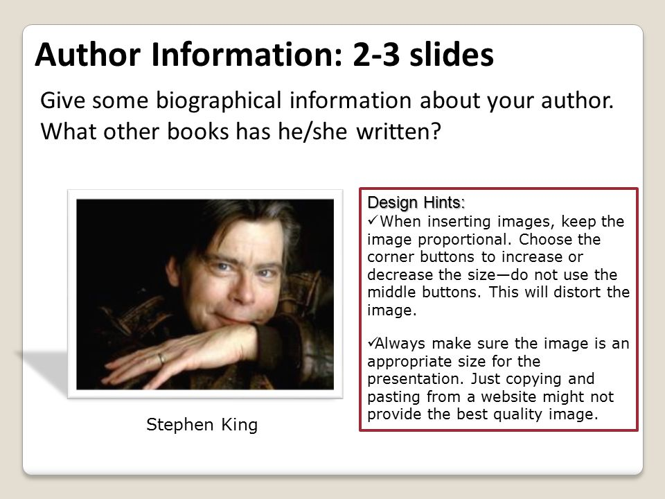 Give some biographical information about your author. What other books has he/she written? Design Hints: When inserting images, keep the image proport