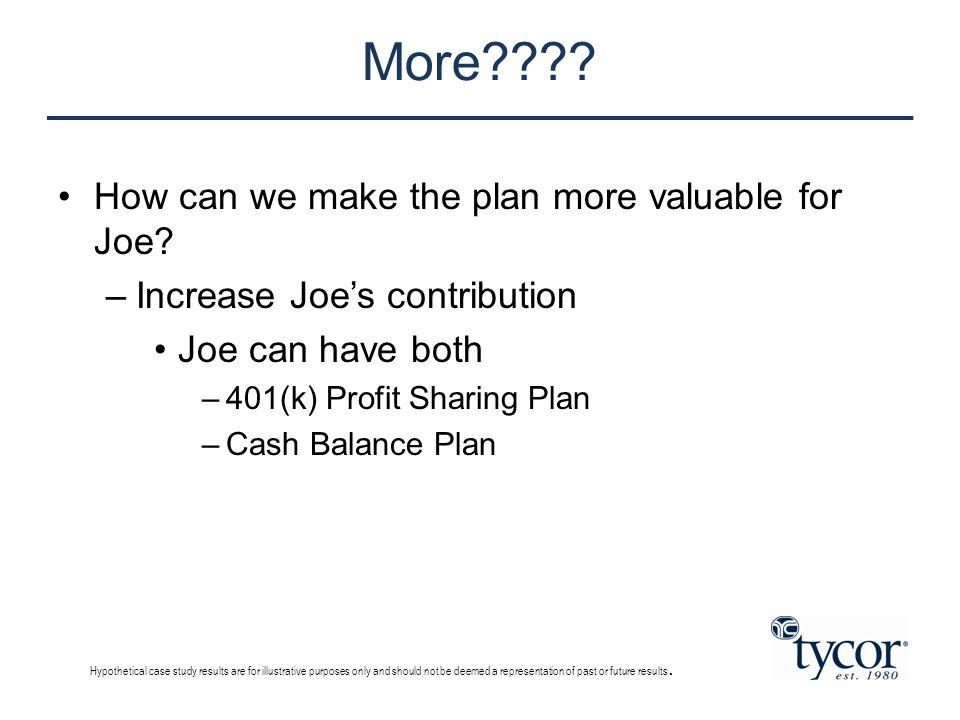 More???? How can we make the plan more valuable for Joe? –Increase Joe's contribution Joe can have both –401(k) Profit Sharing Plan –Cash Balance Plan