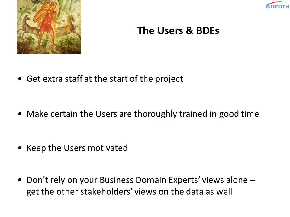 Role: Users, Business Domain Experts Diana, goddess of the hunt e.g. Operations staff