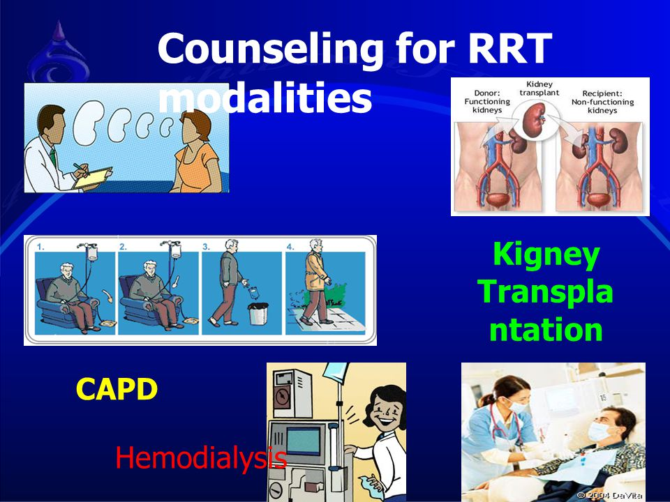 CAPD Hemodialysis Counseling for RRT modalities Kigney Transpla ntation