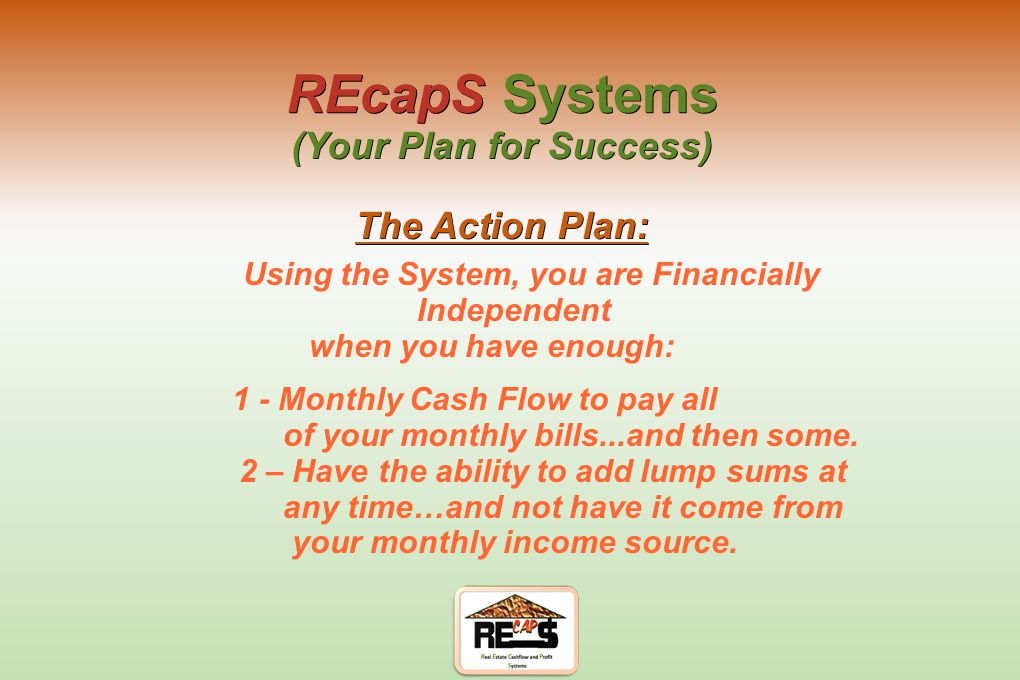 The Perfect System must be both Self Sustaining and Repeatable REcapS Systems (Your Plan for Success) The Basics?: