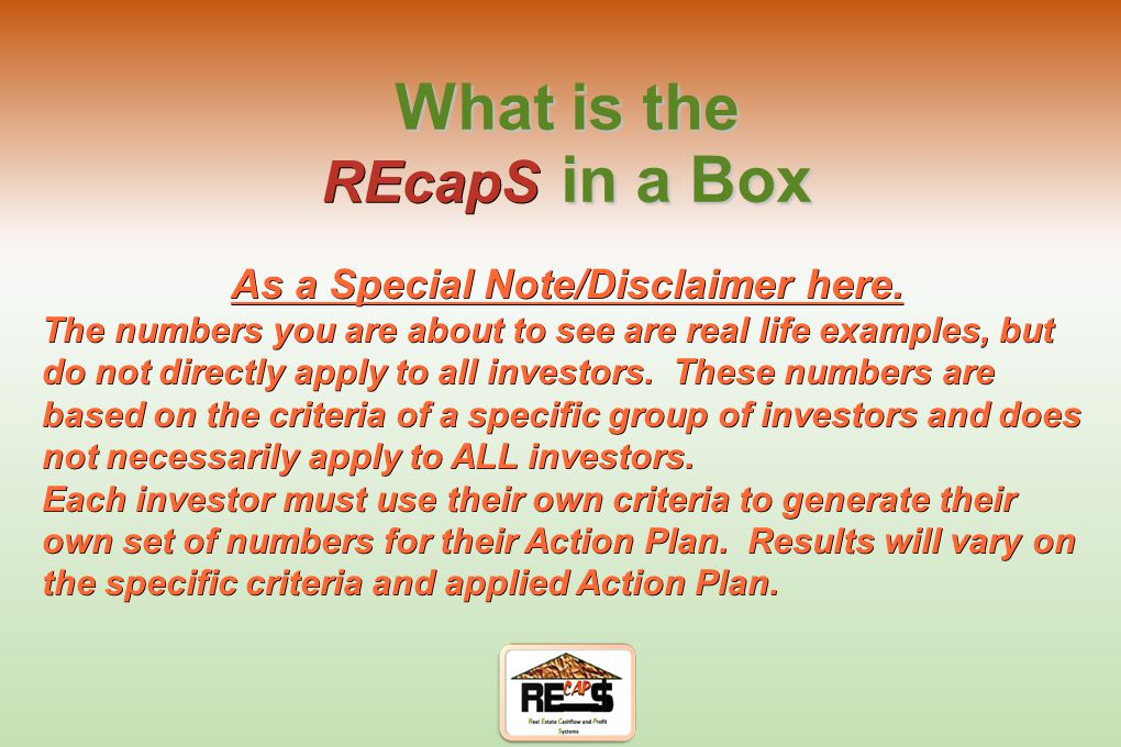 """REcapS in a Box"" (Your Plan for Success)"