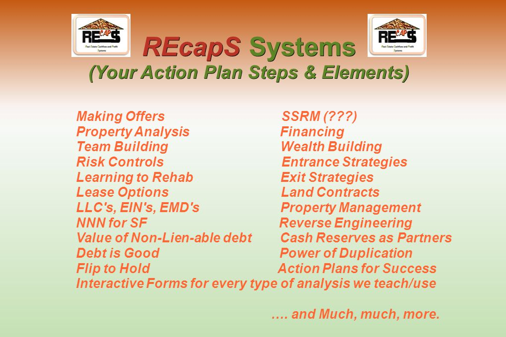 "REcapS Systems (Your Action Plan for Success) ""REcapS in a Box"" (Your Plan for Success)"