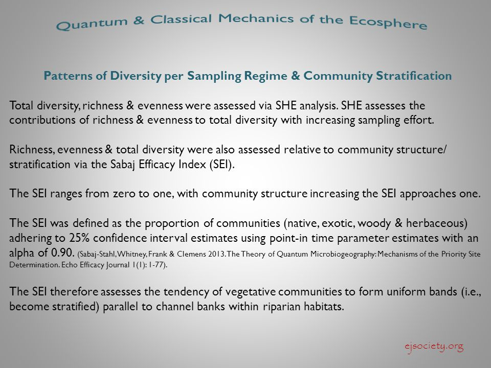 ejsociety.org Patterns of Diversity per Sampling Regime & Community Stratification Total diversity, richness & evenness were assessed via SHE analysis