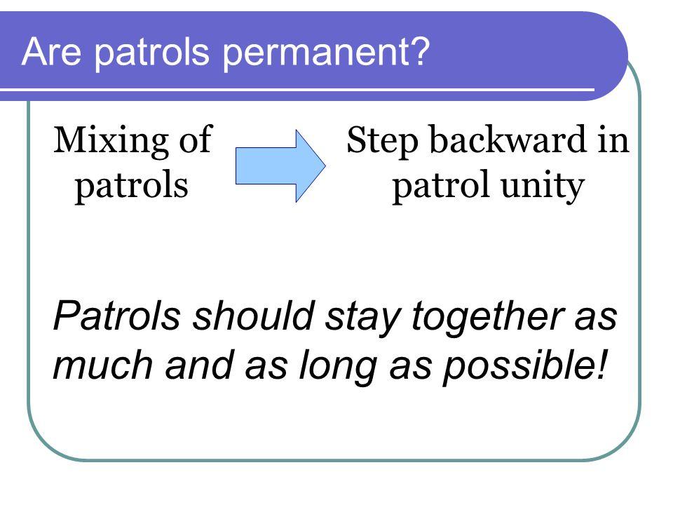 Are patrols permanent.