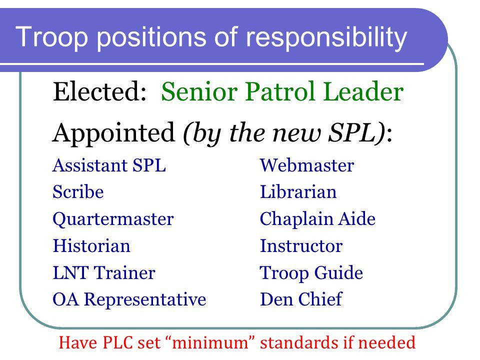 Troop positions of responsibility Elected: Senior Patrol Leader Assistant SPL Scribe Quartermaster Historian LNT Trainer OA Representative Webmaster L