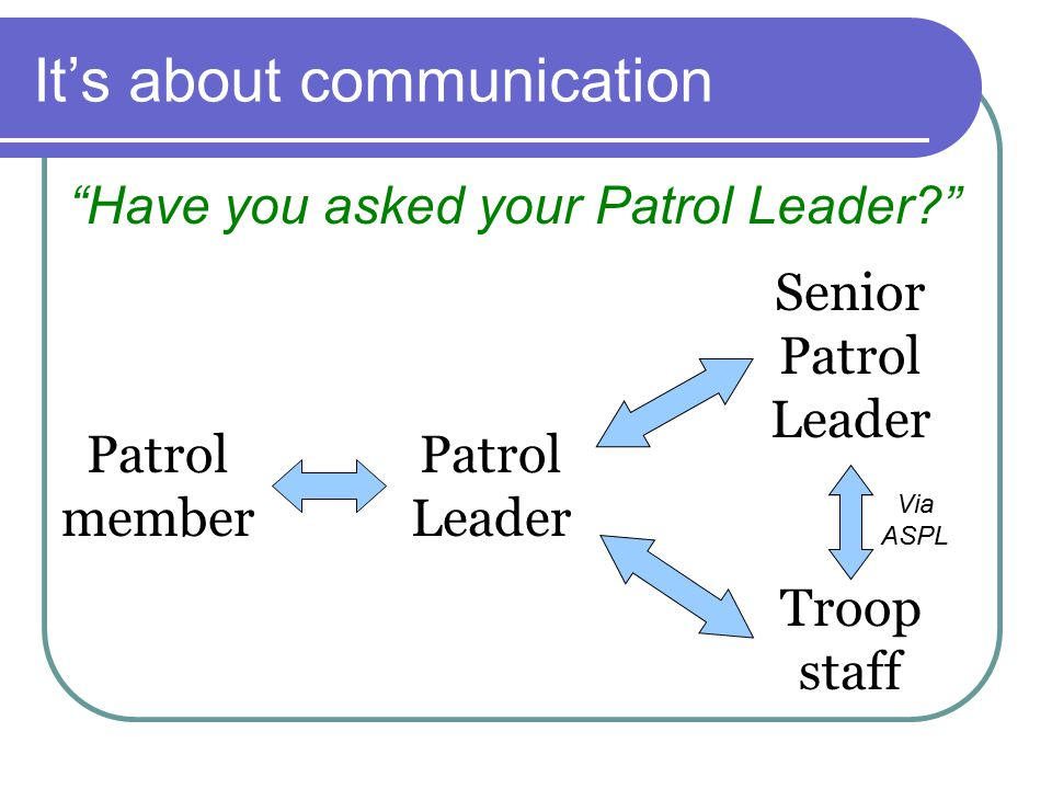 It's about communication Have you asked your Patrol Leader Patrol member Patrol Leader Senior Patrol Leader Troop staff Via ASPL
