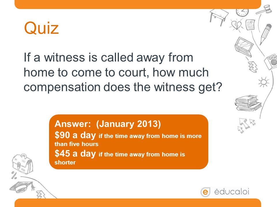 Quiz If a witness is called away from home to come to court, how much compensation does the witness get.