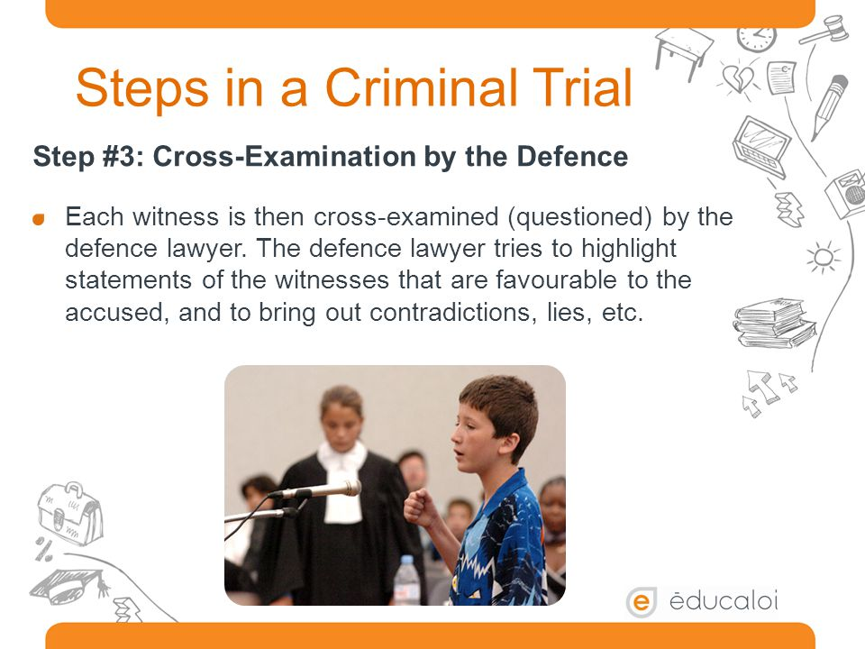 Steps in a Criminal Trial Step #3: Cross-Examination by the Defence Each witness is then cross-examined (questioned) by the defence lawyer.