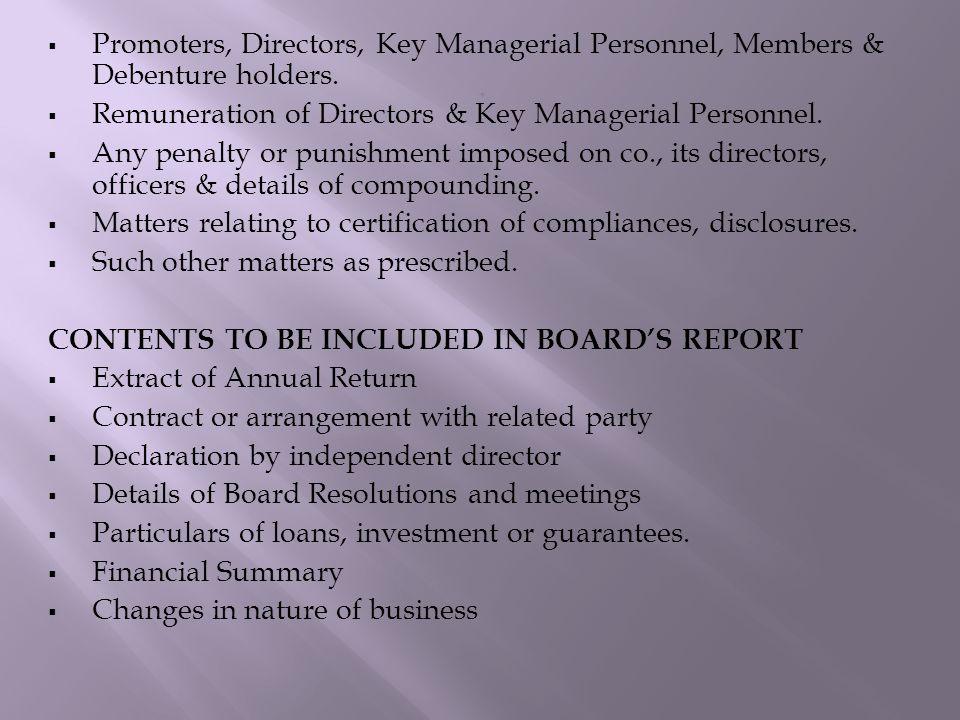  Promoters, Directors, Key Managerial Personnel, Members & Debenture holders.  Remuneration of Directors & Key Managerial Personnel.  Any penalty o