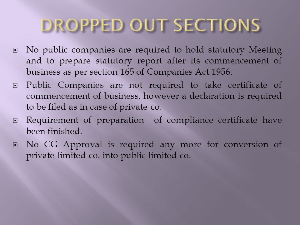  No public companies are required to hold statutory Meeting and to prepare statutory report after its commencement of business as per section 165 of Companies Act 1956.