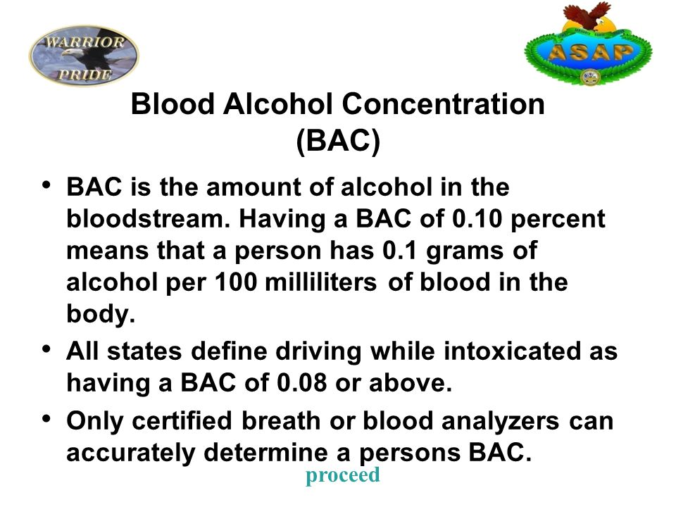 Blood Alcohol Concentration (BAC) BAC is the amount of alcohol in the bloodstream.