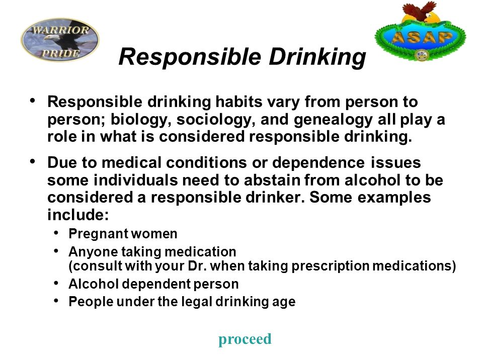 Responsible Drinking Responsible Drinking: Drinking in a way that does not adversely affect an individual's ability to fulfill their legal, moral, or social obligations nor does it negatively impact their health, job performance, or quality of life.