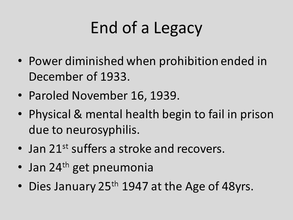 End of a Legacy Power diminished when prohibition ended in December of 1933.