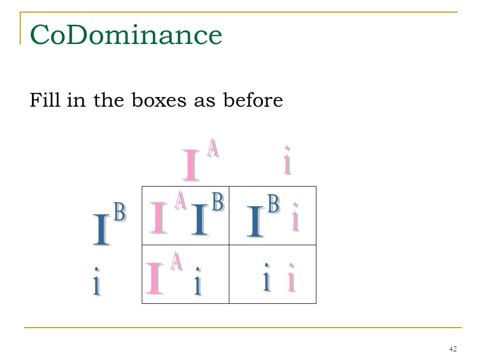 42 CoDominance Fill in the boxes as before