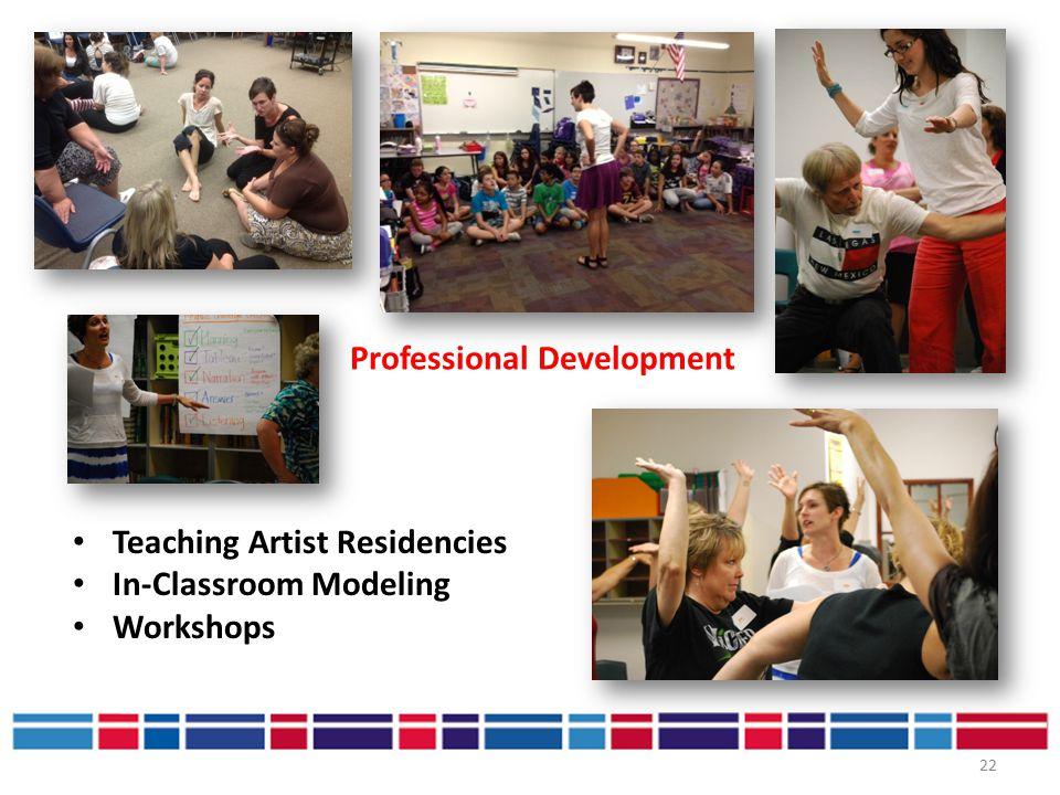 22 Professional Development Teaching Artist Residencies In-Classroom Modeling Workshops
