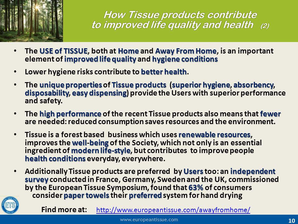 www.europeantissue.com How Tissue products contribute to improved life quality and health (2) 10 USE of TISSUEHomeAway From Home improved life quality