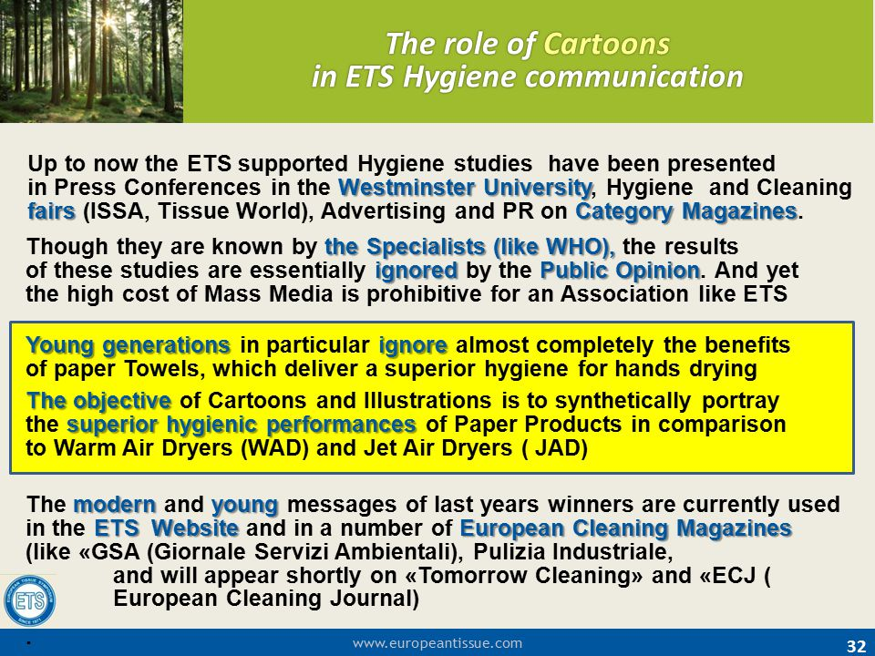 www.europeantissue.com 32 The role of Cartoons in ETS Hygiene communication the Specialists (like WHO), ignoredPublicOpinion Though they are known by