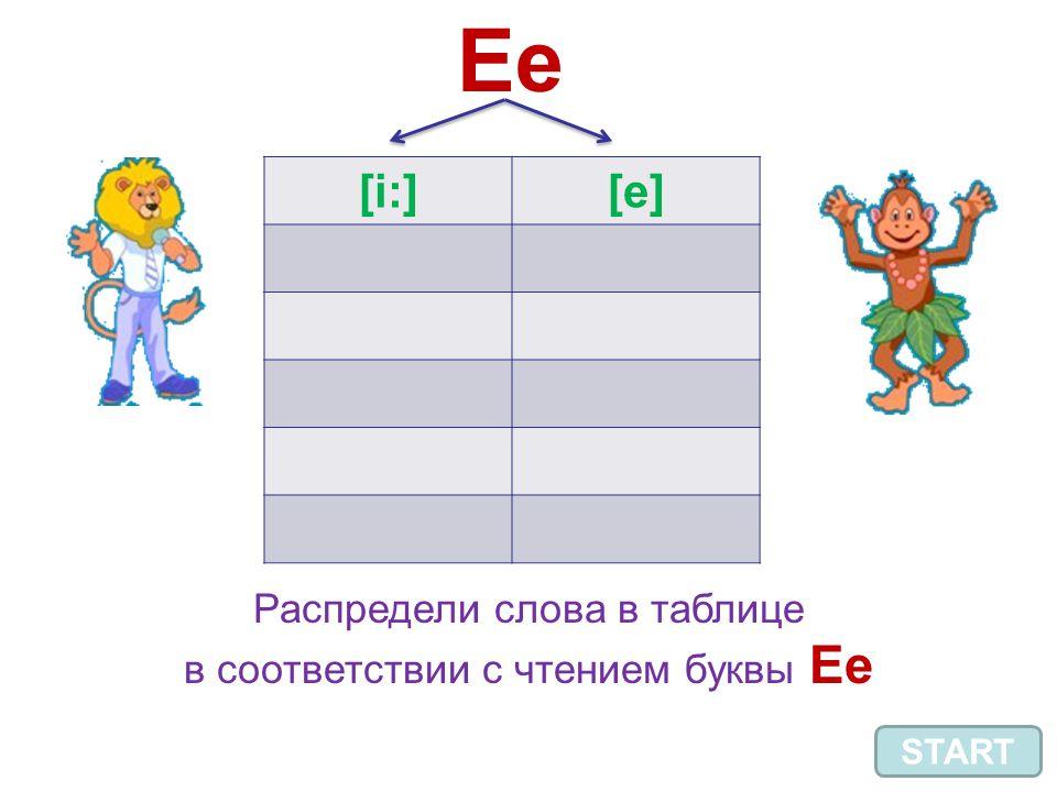 Ee [i:][e] START Распредели слова в таблице в соответствии с чтением буквы Ee