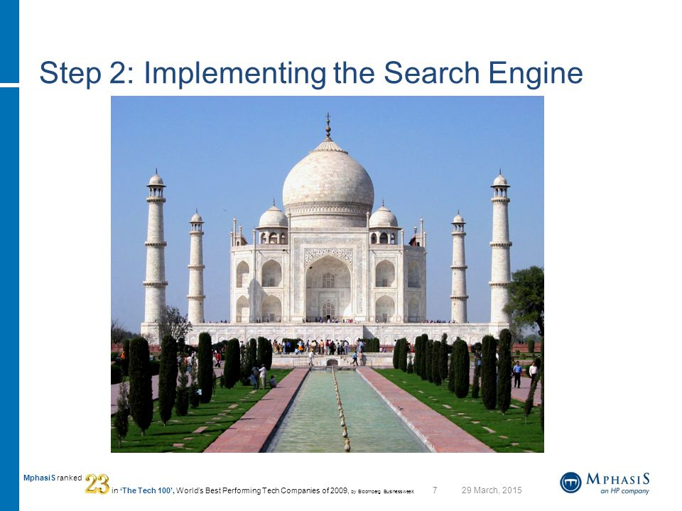 729 March, 2015 MphasiS ranked in 'The Tech 100', World's Best Performing Tech Companies of 2009, by Bloomberg Businessweek Step 2: Implementing the Search Engine