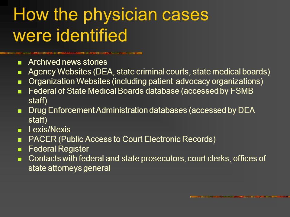 How the physician cases were identified Archived news stories Agency Websites (DEA, state criminal courts, state medical boards) Organization Websites