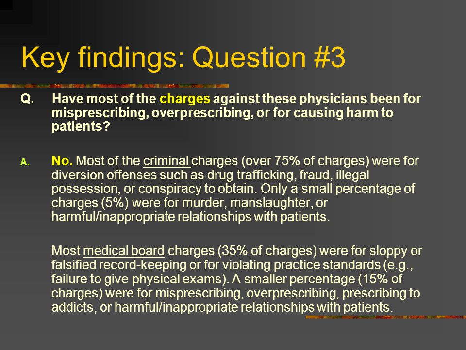 Key findings: Question #3 Q. Have most of the charges against these physicians been for misprescribing, overprescribing, or for causing harm to patien