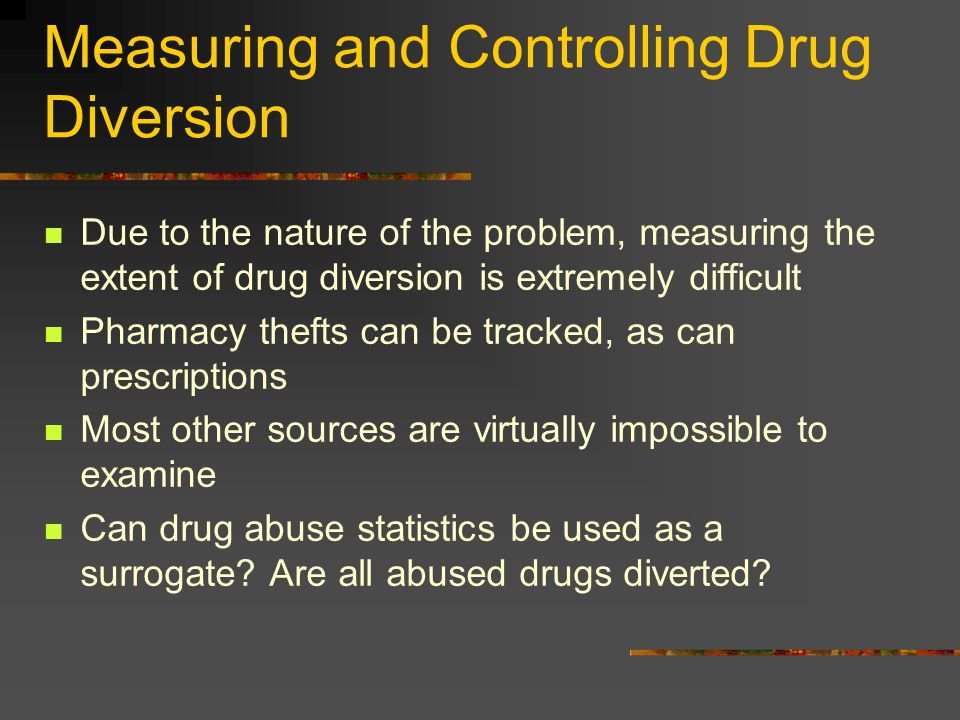 Measuring and Controlling Drug Diversion Due to the nature of the problem, measuring the extent of drug diversion is extremely difficult Pharmacy thef