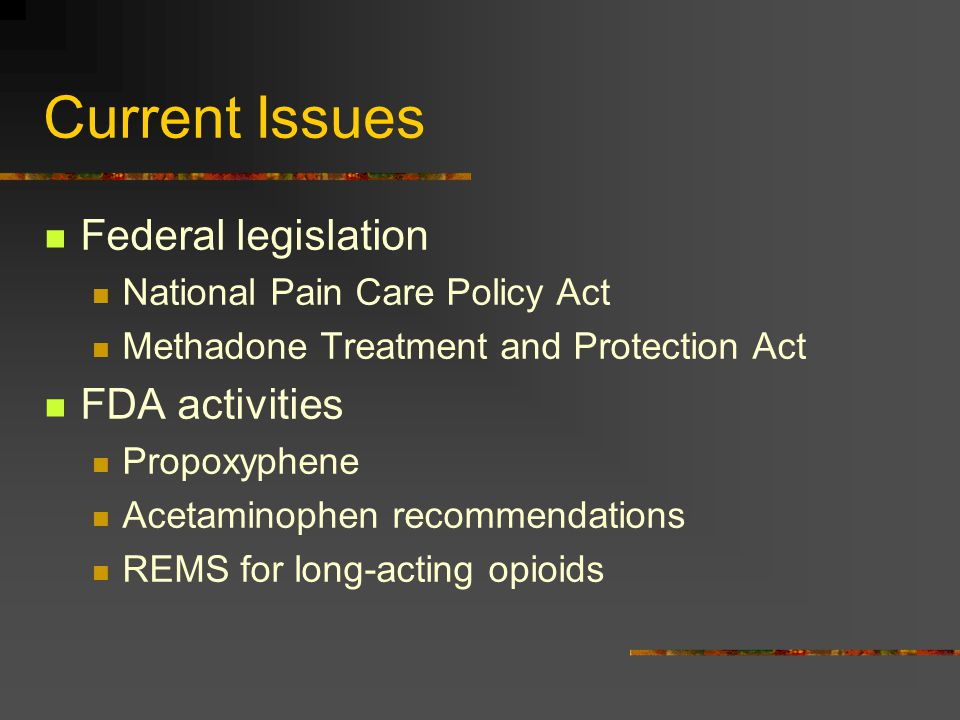Current Issues Federal legislation National Pain Care Policy Act Methadone Treatment and Protection Act FDA activities Propoxyphene Acetaminophen reco
