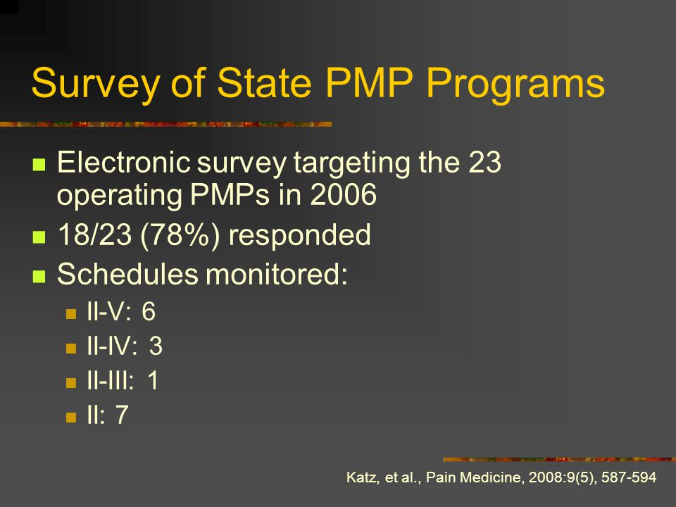 Survey of State PMP Programs Electronic survey targeting the 23 operating PMPs in 2006 18/23 (78%) responded Schedules monitored: II-V: 6 II-IV: 3 II-