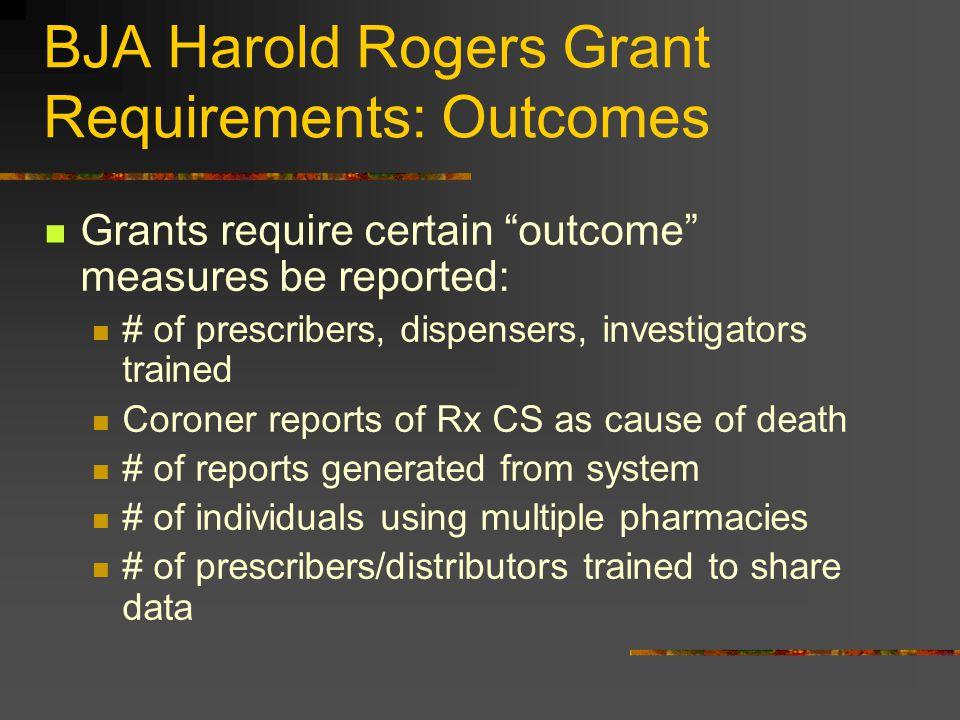 "BJA Harold Rogers Grant Requirements: Outcomes Grants require certain ""outcome"" measures be reported: # of prescribers, dispensers, investigators trai"