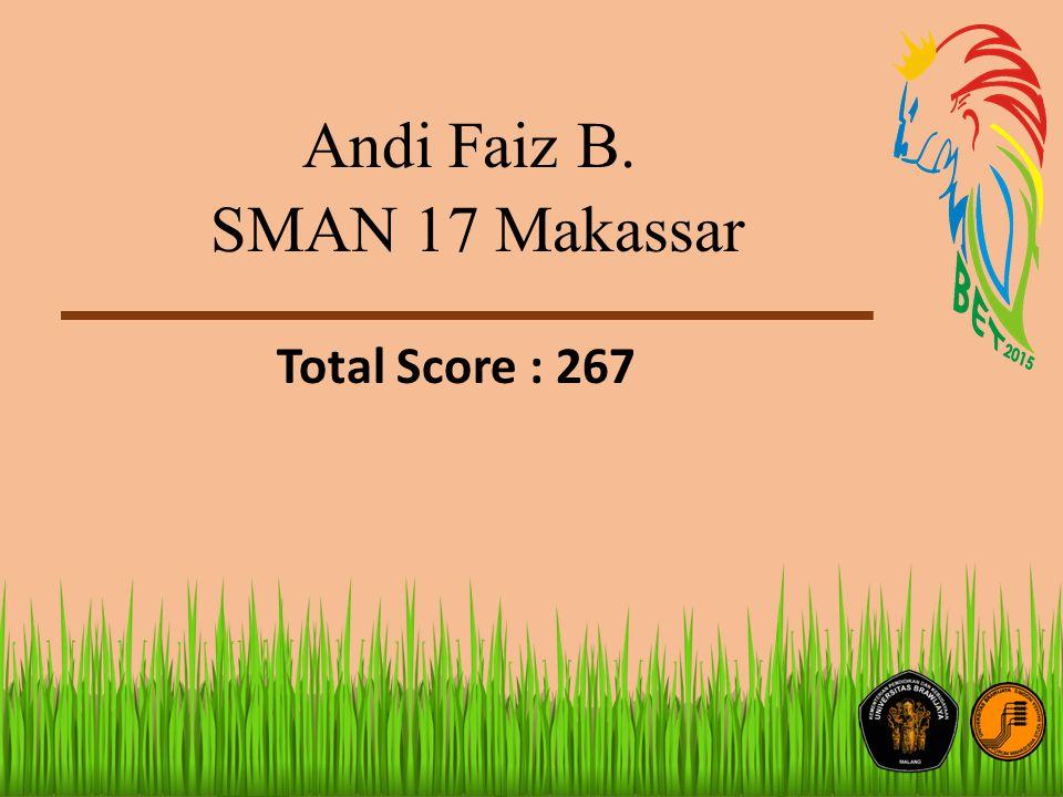 Andi Faiz B. SMAN 17 Makassar Total Score : 267