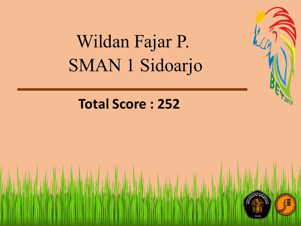 Wildan Fajar P. SMAN 1 Sidoarjo Total Score : 252