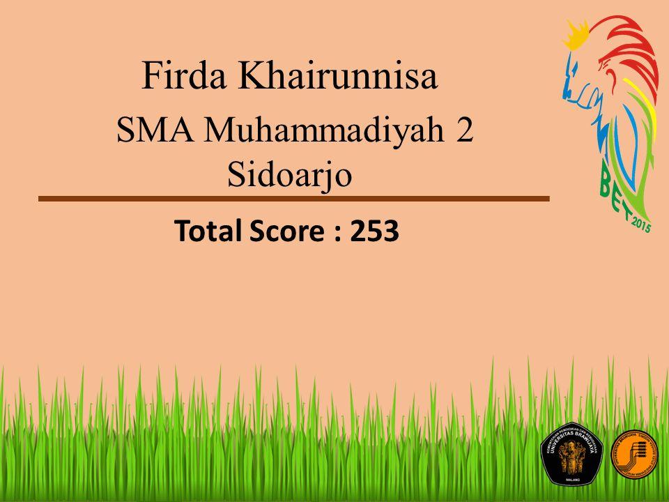 Firda Khairunnisa SMA Muhammadiyah 2 Sidoarjo Total Score : 253