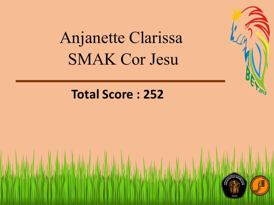 Anjanette Clarissa SMAK Cor Jesu Total Score : 252