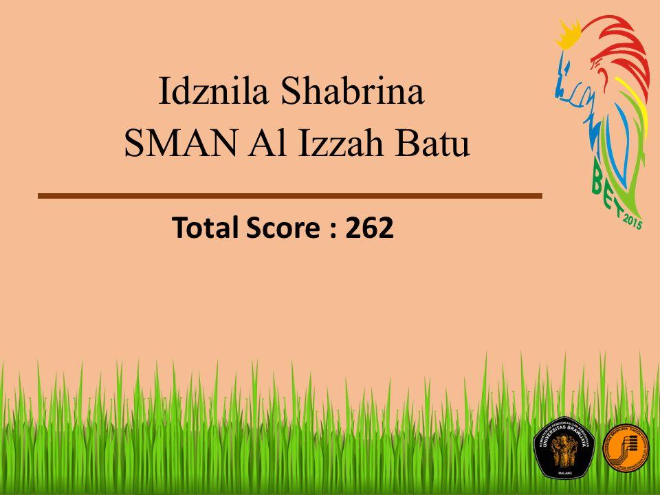 Idznila Shabrina SMAN Al Izzah Batu Total Score : 262