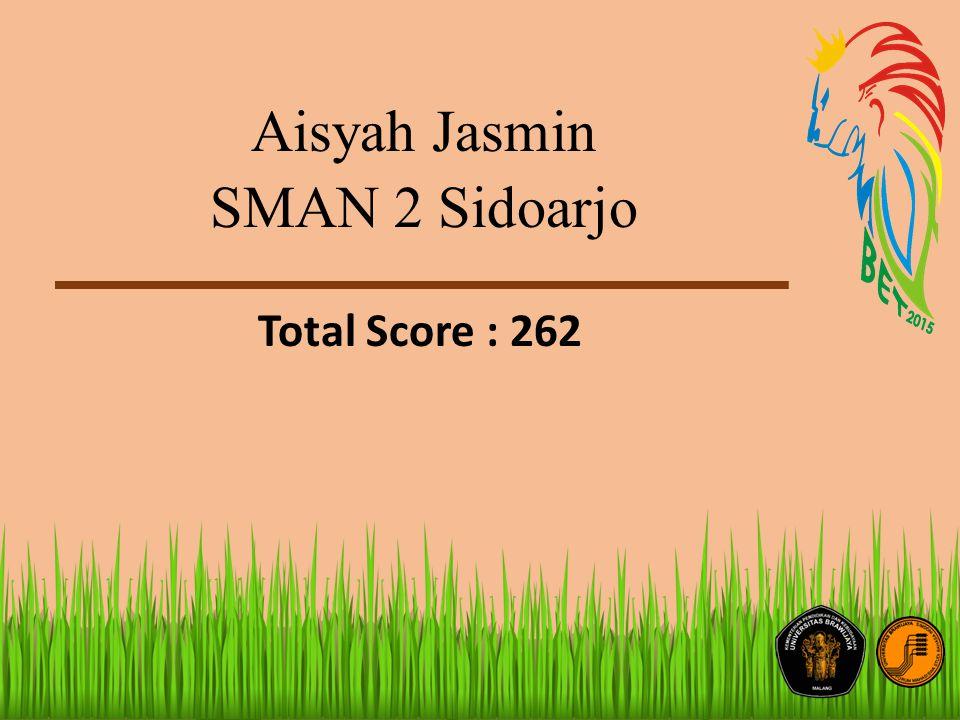 Aisyah Jasmin SMAN 2 Sidoarjo Total Score : 262