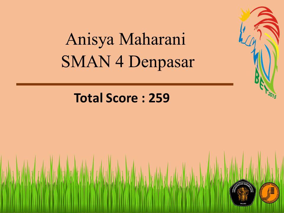 Anisya Maharani SMAN 4 Denpasar Total Score : 259