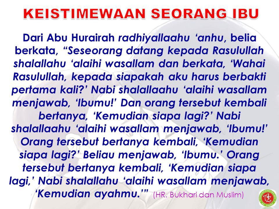 "Dari Abu Hurairah radhiyallaahu 'anhu, belia berkata, ""Seseorang datang kepada Rasulullah shalallahu 'alaihi wasallam dan berkata, 'Wahai Rasulullah,"