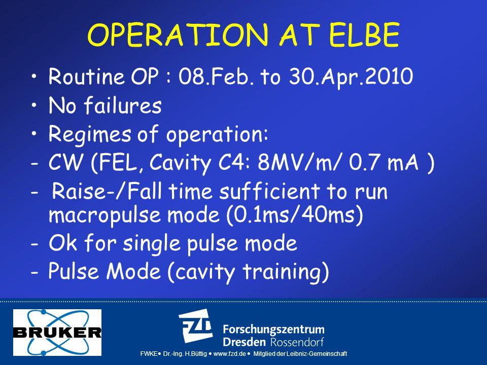 FWKE Dr.-Ing. H.Büttig www.fzd.de Mitglied der Leibniz-Gemeinschaft OPERATION AT ELBE Routine OP : 08.Feb. to 30.Apr.2010 No failures Regimes of opera