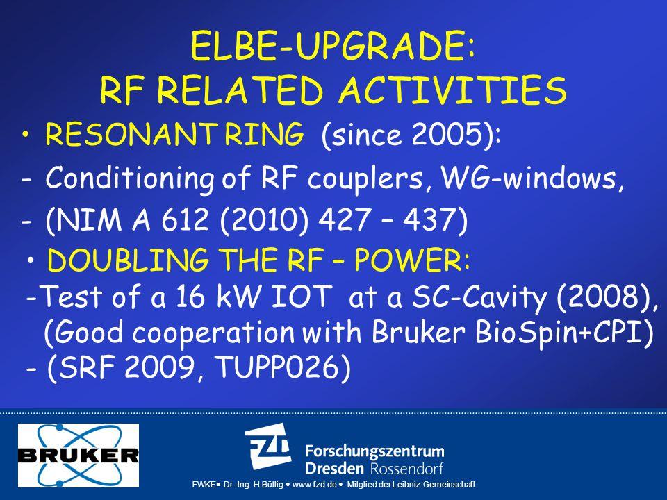 FWKE Dr.-Ing. H.Büttig www.fzd.de Mitglied der Leibniz-Gemeinschaft ELBE-UPGRADE: RF RELATED ACTIVITIES RESONANT RING (since 2005): -Conditioning of R