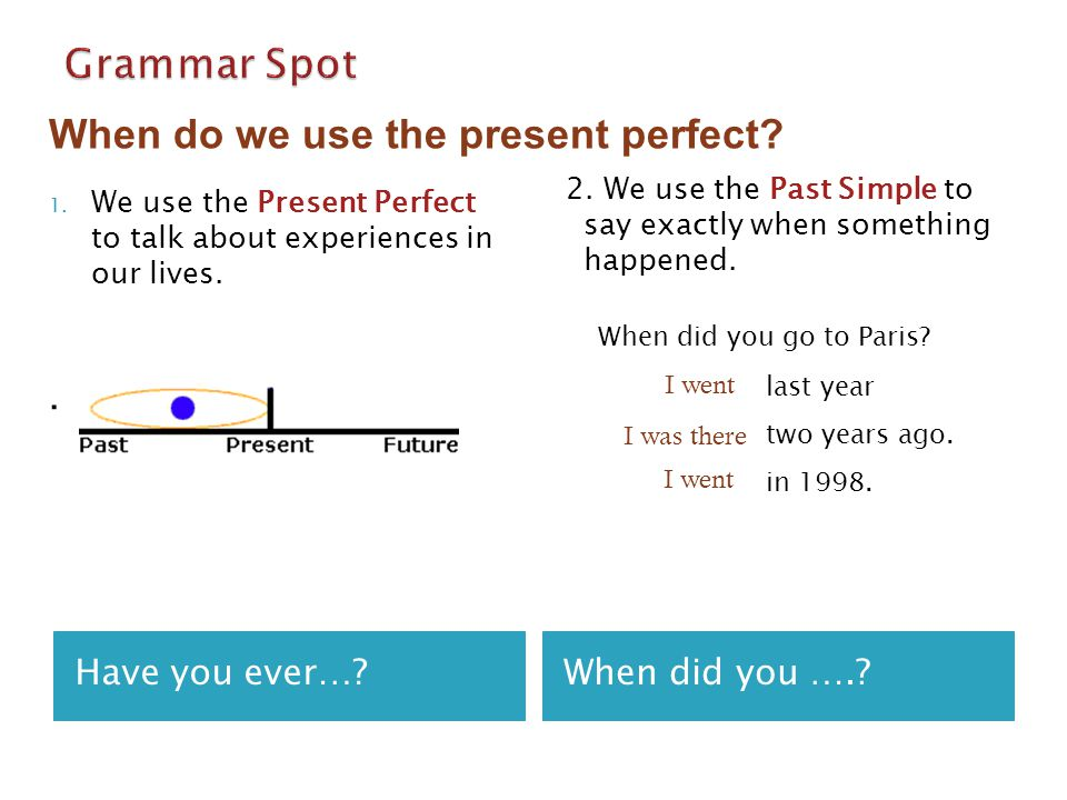 Have you ever…?When did you ….? 1. We use the Present Perfect to talk about experiences in our lives.. 2. We use the Past Simple to say exactly when s
