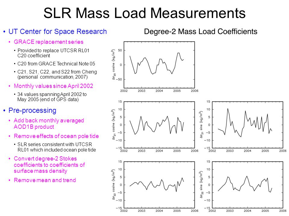 GPS Mass Load Measurements GPS station distribution Land-rich, ocean-poor Surface mass load Strong over land, weak over oceans Designer basis functions (Clarke et al., 2007) Expand load over just the land Ocean load included by conserving mass Land-ocean mass transfer Equilibrium response of oceans to load Transform coefficients of new basis functions back to SH coefficients GPS mass load series From SIO reanalysis GPS data Spans 1996.0 – 2005.4 at fortnightly intervals Pre-processing Form monthly averages Linearly interpolate to epochs of GRACE data Remove mean and trend